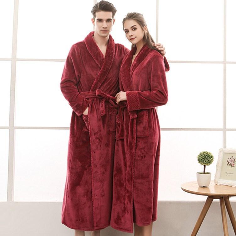 fc5cedeabc9ae8 Outono Inverno Feminino Flanela Robe Mulheres Longo Roupão Sleepwear  Amantes Roupão Grosso Plus Size Homewear