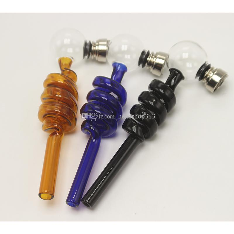 DHL glass pipe Curved Glass Oil Burners Pipes Hookah Bong Portable Shisha Hand Spoon Pipes Tools With Metal Bowl