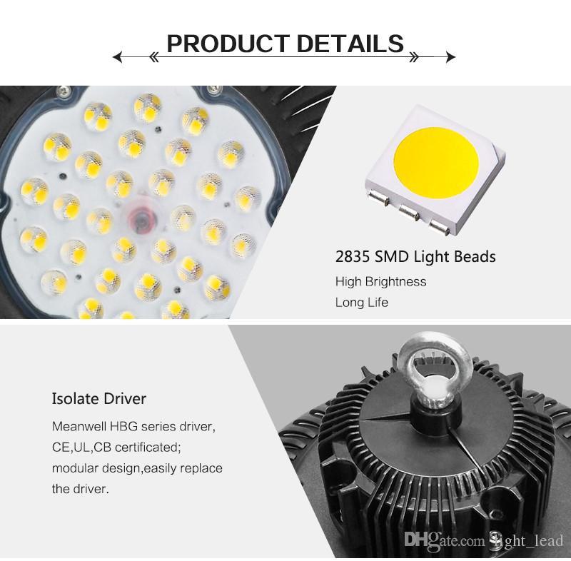 LED haute baie Lumière 50W 100W 150W 200W UFO 6000K 20000Lm IP65 AC85-265V LED Lumière d'inondation Aluminium Mining Highbay lampe