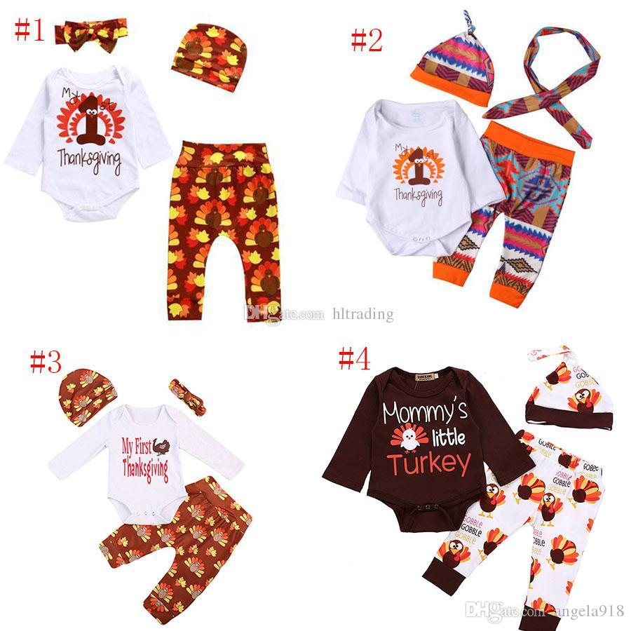 Thanksgiving cotton Baby girls Clothing Set Turkey Printed Kids outfits  Spring Autumn Turkey Printed Baby suits 5 styles C2830