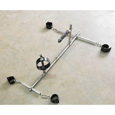 Useful Steel Female Slave Rack Frame Spreader Bar Steel Ankle Cuffs Restraint With Plug Sexual Wellness