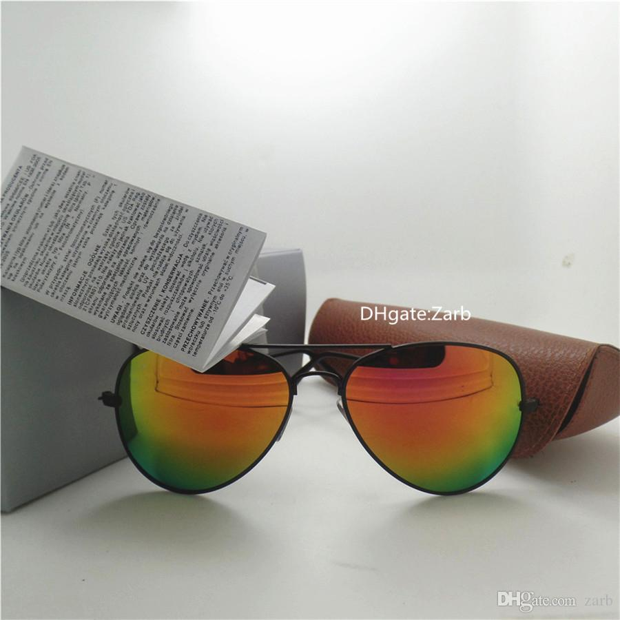 High quality Men Women Sunglasses UV400 Beach Party 58MM Pilot Unisex Vintage Brand Eyeglass Mercury Mirror With Brown Box Case