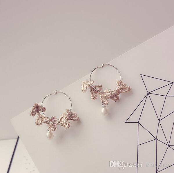 Boucles d'oreilles anti-allergie en argent 925 Fashion Circle Boucles d'oreilles en perles de dentelle pour femme de style européen et américain