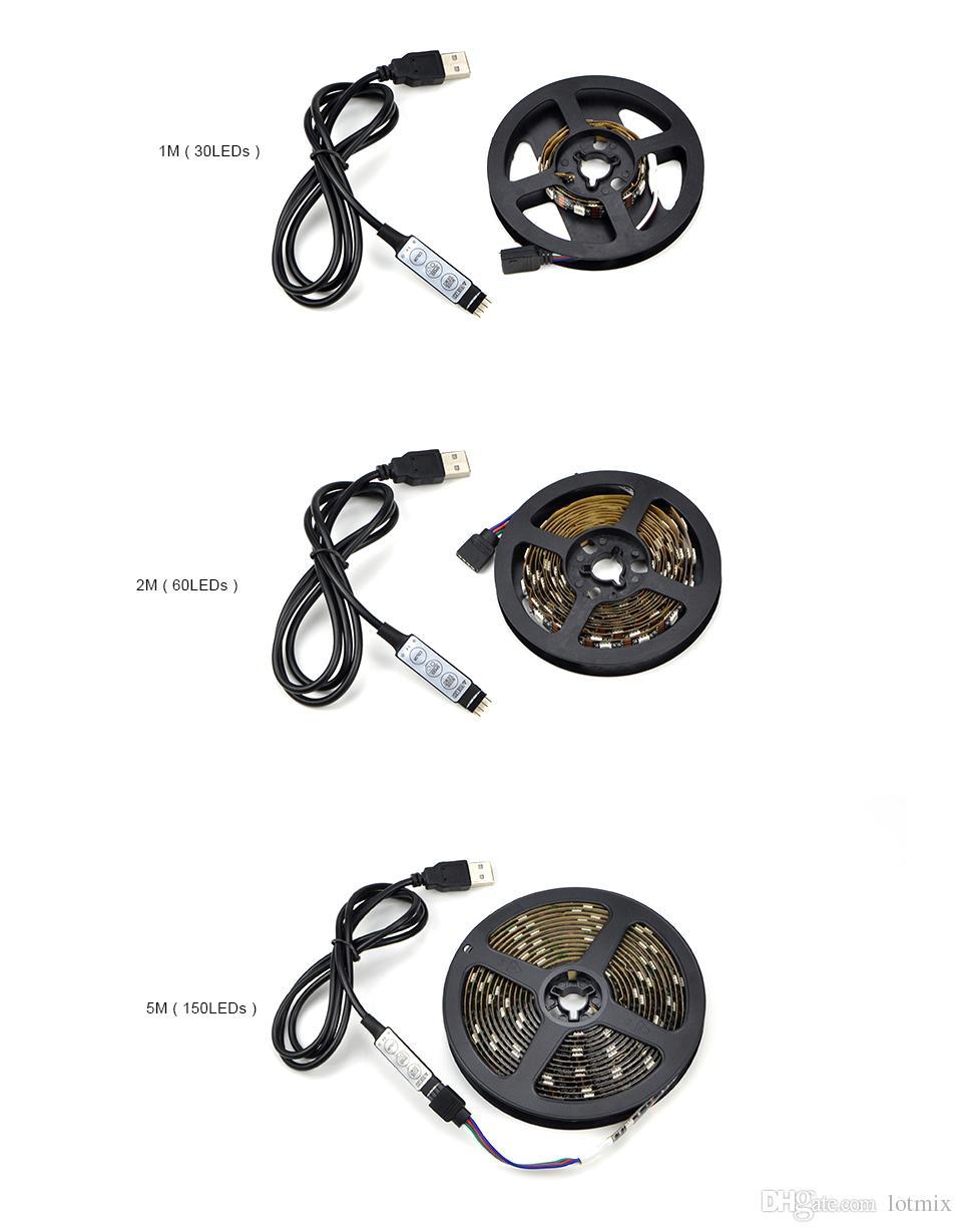 LED Işık Siyah PCB DC 5 V 5050 SMD RGB USB kablosu LED Şerit işık TV Arka şerit lambası RGB uzaktan kumanda 1 M 2 M 3 M 4 M 5 M