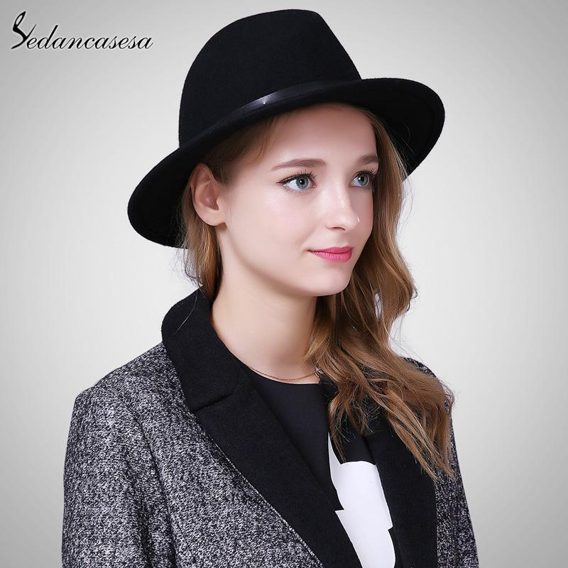 acbef645c20 Sedancasesa England Style Autumn Winter Hat For Women Fedora Hat ...