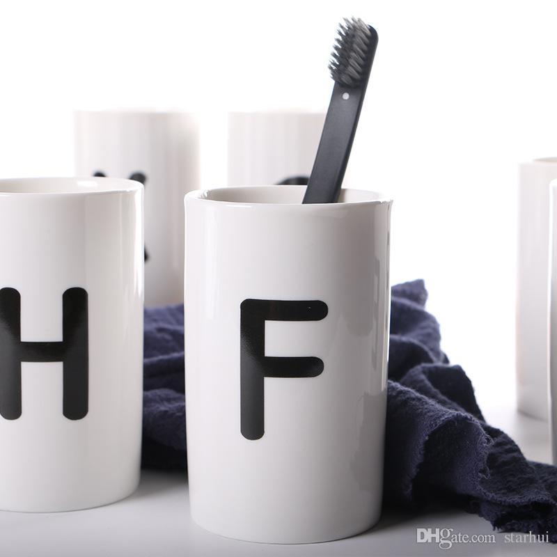 Beyaz Çocuk Süt Fincan 26 Mektuplar Bardaklar Emniyet Bebek Fedding İçme Kahve Fincan Modern Ev Dekor Sofra Yemekleri Kahve Kupalar WX9-212