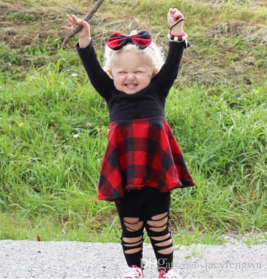 Meninas boutique roupas Outfits Primavera vestir meninas borboleta saias ternos grade roupas crianças bebê crianças longa tees CQZ144