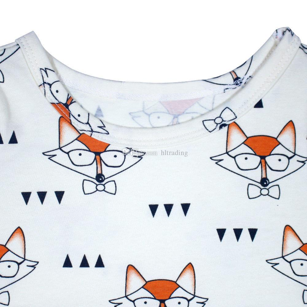 INS Baby girls fox Glasses Printed dress 2018 new Children Long Sleeve princess dress Kids Clothing C3725