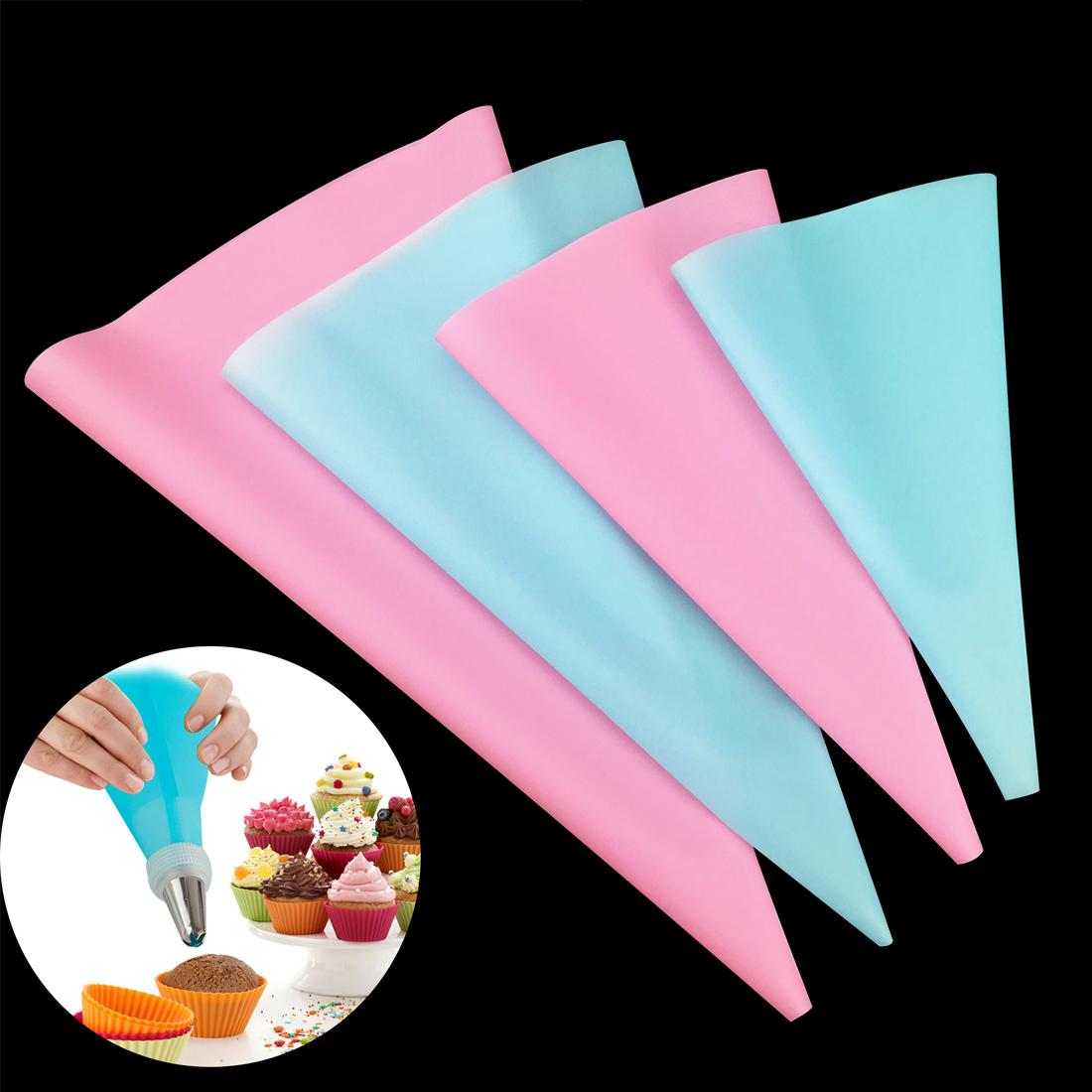 4pcs/Set Reusable Confectionery Silicone Icing Piping Cream Pastry Bag squeeze Nozzle Cake Decorating Baking Decorating Tools FREE SHIPPING