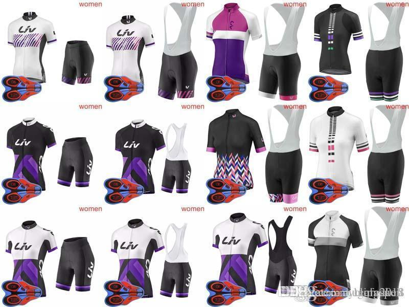 2018 New Ladies LIV Team Cycling Short Sleeves Jersey Bib Shorts Sets 9D  Gel Pad Quick Dry Cycling Clothes Bicycle Racing Wear F2202 Cycle Shirts  Padded ... 7d95606c7