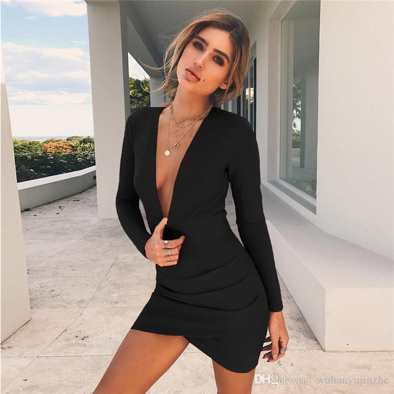 Red&Black Hop Sale Sexy Tight Fitted Mini Dress Deep V Neck Backless Sheath Cotton Dresses CL382