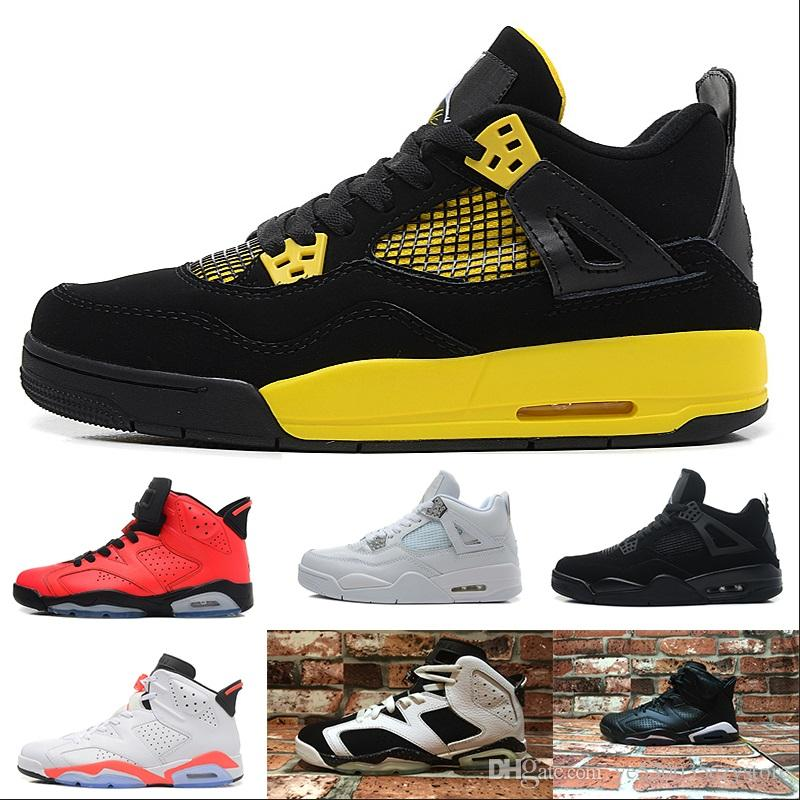 promo code d0584 dcdd1 Acheter Nike Air Jordan Aj4 2017 Gros Qualité Supérieure 4 S Blanc Ciment  Bred Fire Rouge 4 Hommes Chaussures De Basket Ball Chaussures Sport Taille  8,0 13 ...