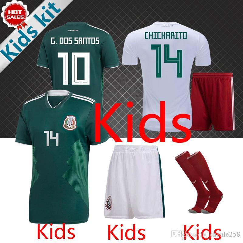 Compre México Crianças Jerseys Kit 2018 Copa Do Mundo México Crianças Futebol  Jersey Casa Verde Longe Branco CHICHARITO SANTOS Juventude Uniformes De ... 0e136dc54267c