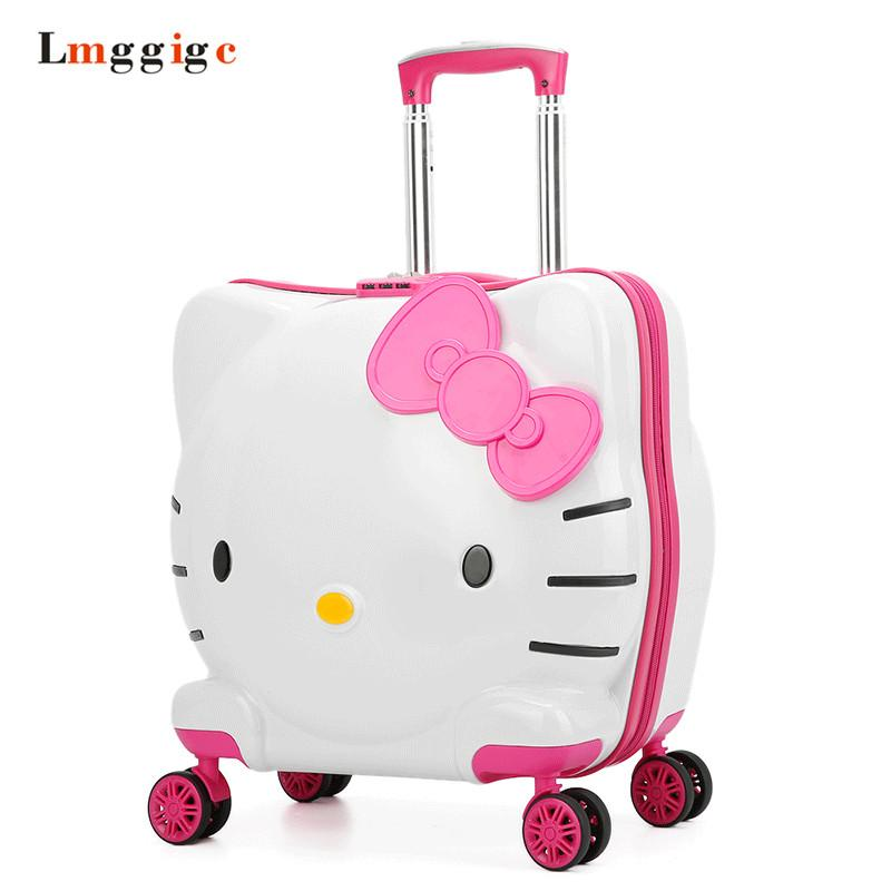 Kids Rolling Luggage BagChildrenS Hello Kitty Suitcase With WheelChild Trolley LockBoy Girl Carry On Travel Box Gift Womens Suitcases Camouflage