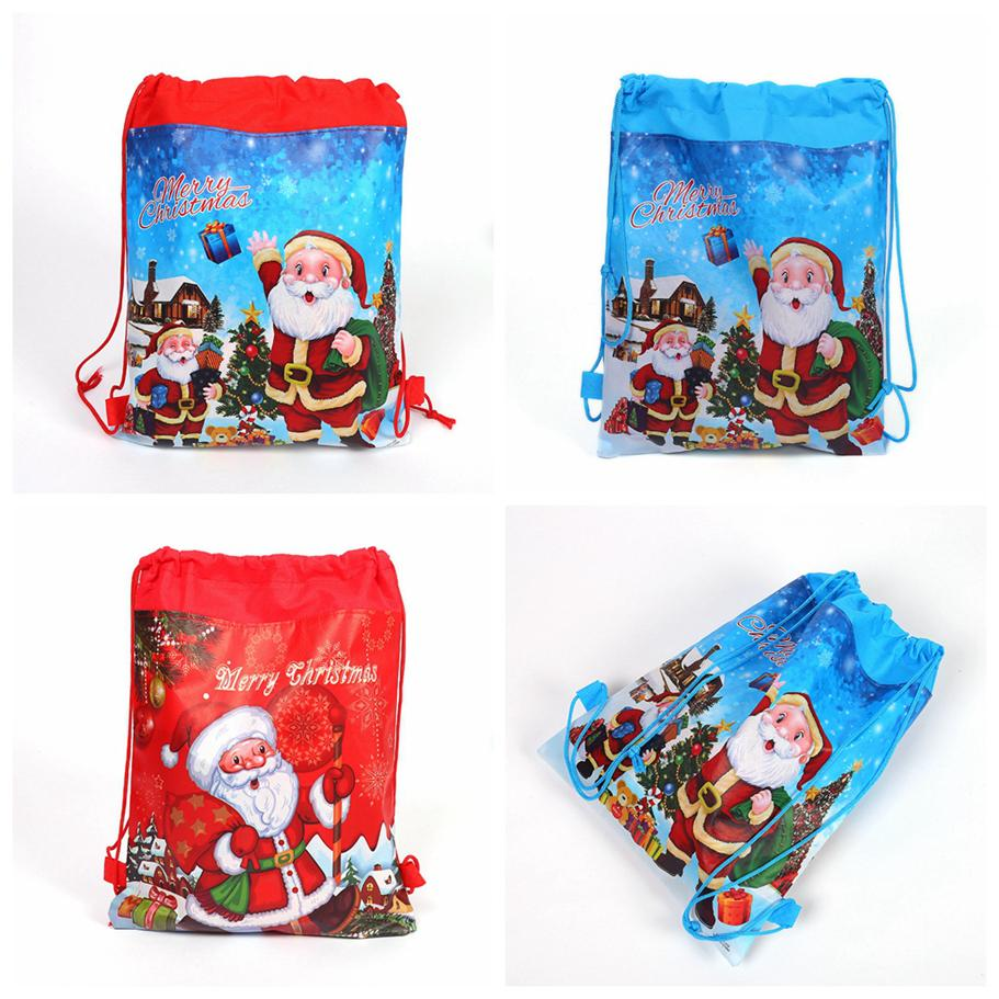 Paper drawstring gift bags for christmas gifts