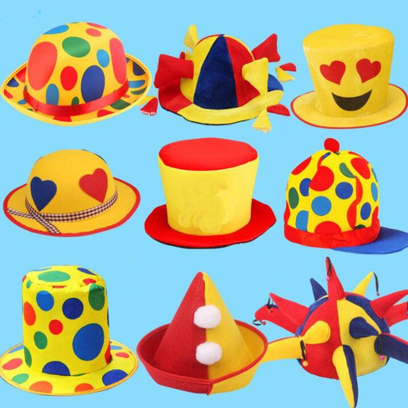 Funny Clown Hat Adults Stage Performance Cosplay Props Party Hats Masquerade Dress Up Decor Birthday Cap Decoration From
