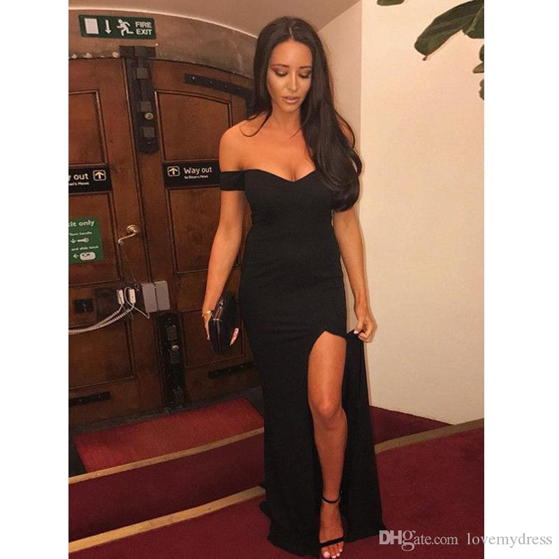 Sexy Black Evening Wear Party Dress For Women 2018 Cheap Long Off the shoulder with Short Sleeves Side Slits Prom Formal Dress Gowns