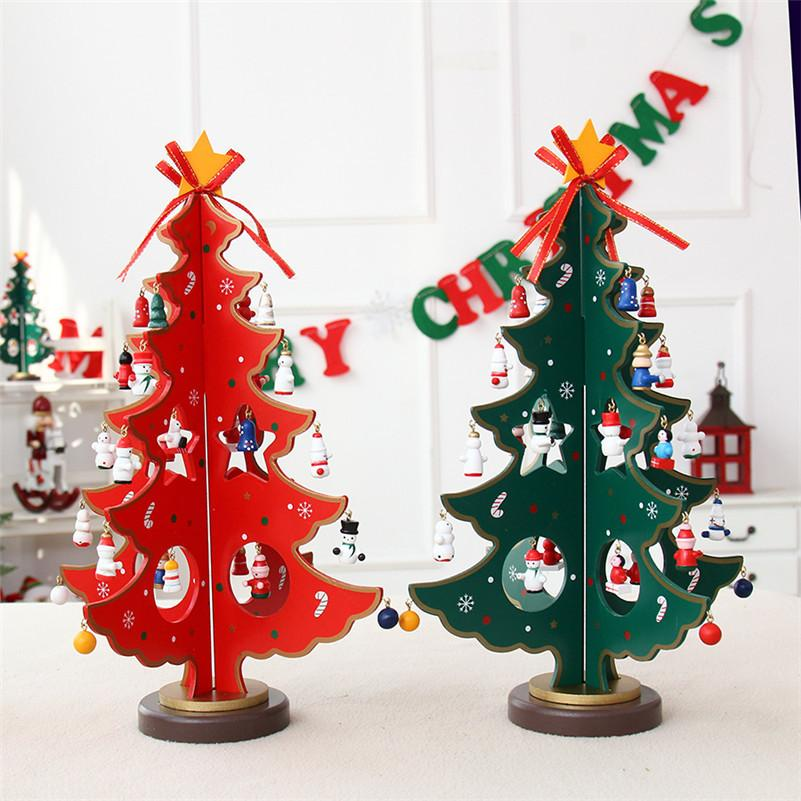 Red Green Wooden Diy Christmas Tree Craft Christmas Table