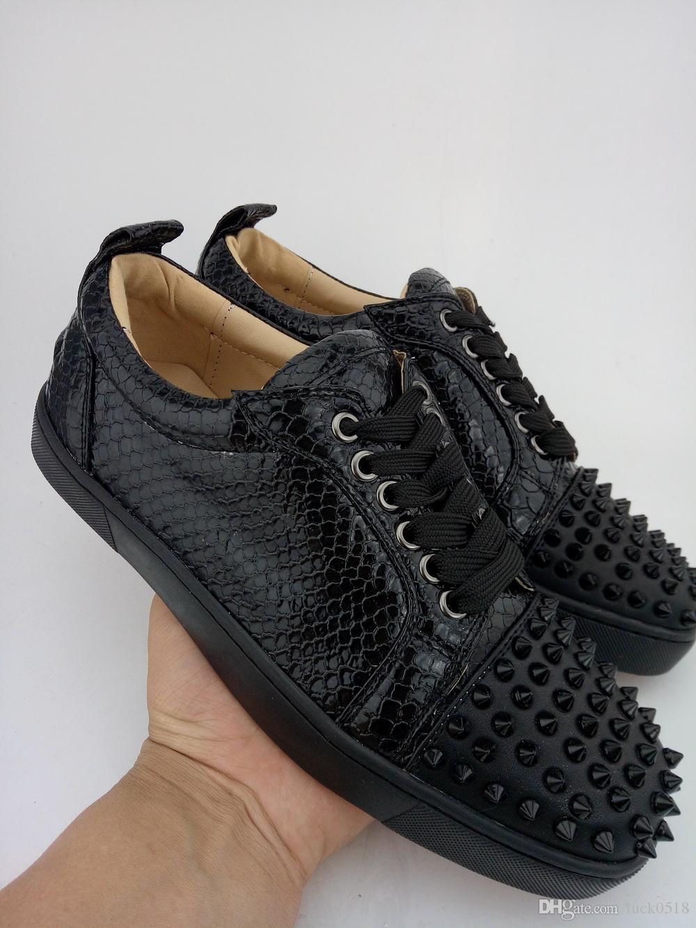 5bc8c5cff6f Compre Zapatos De Cuero Negros Inferiores De Python Para Hombres Zapatos De  Deporte De Corte Bajos Zapatillas De Deporte De Piel De Serpiente Para  Hombres ...