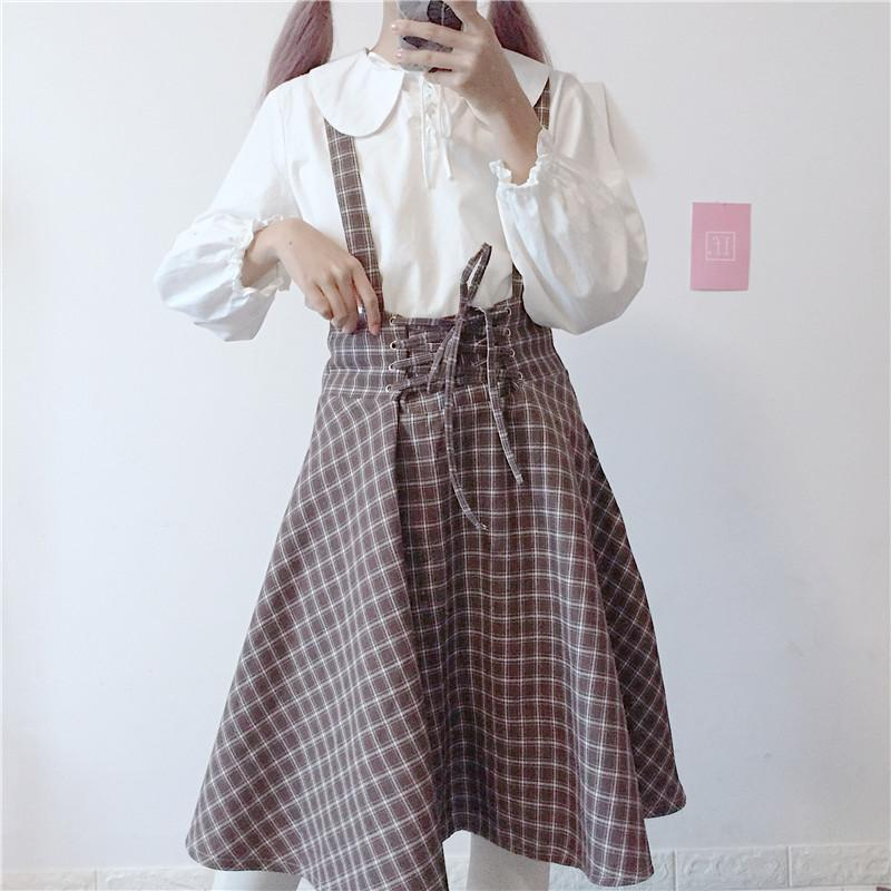 2fdc157de38 2019 Japanese Women Fashion Bandage Skirts High Waist Cute Preppy Plaid  Skirts Harajuku Kawaii Vintage Midi Suspender Overalls From Edward03