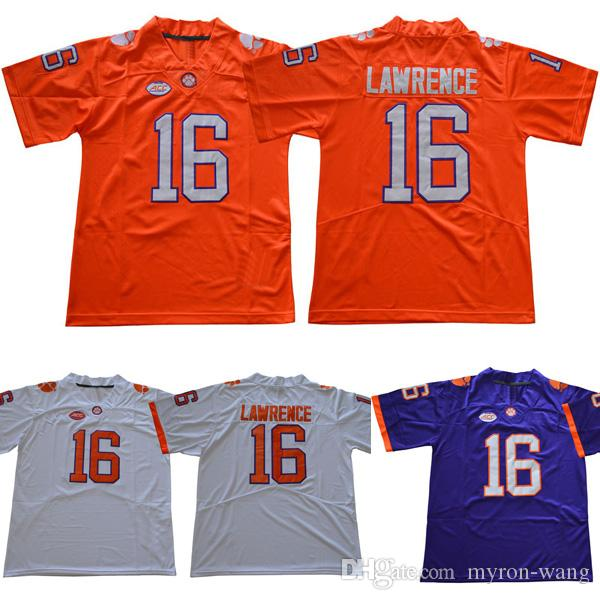2019 Men College Clemson Tigers Jerseys White Orange Purple  16 Trevor  Lawrence Adult Size Football Jersey Stitched From Myron Wang 4a11448f0