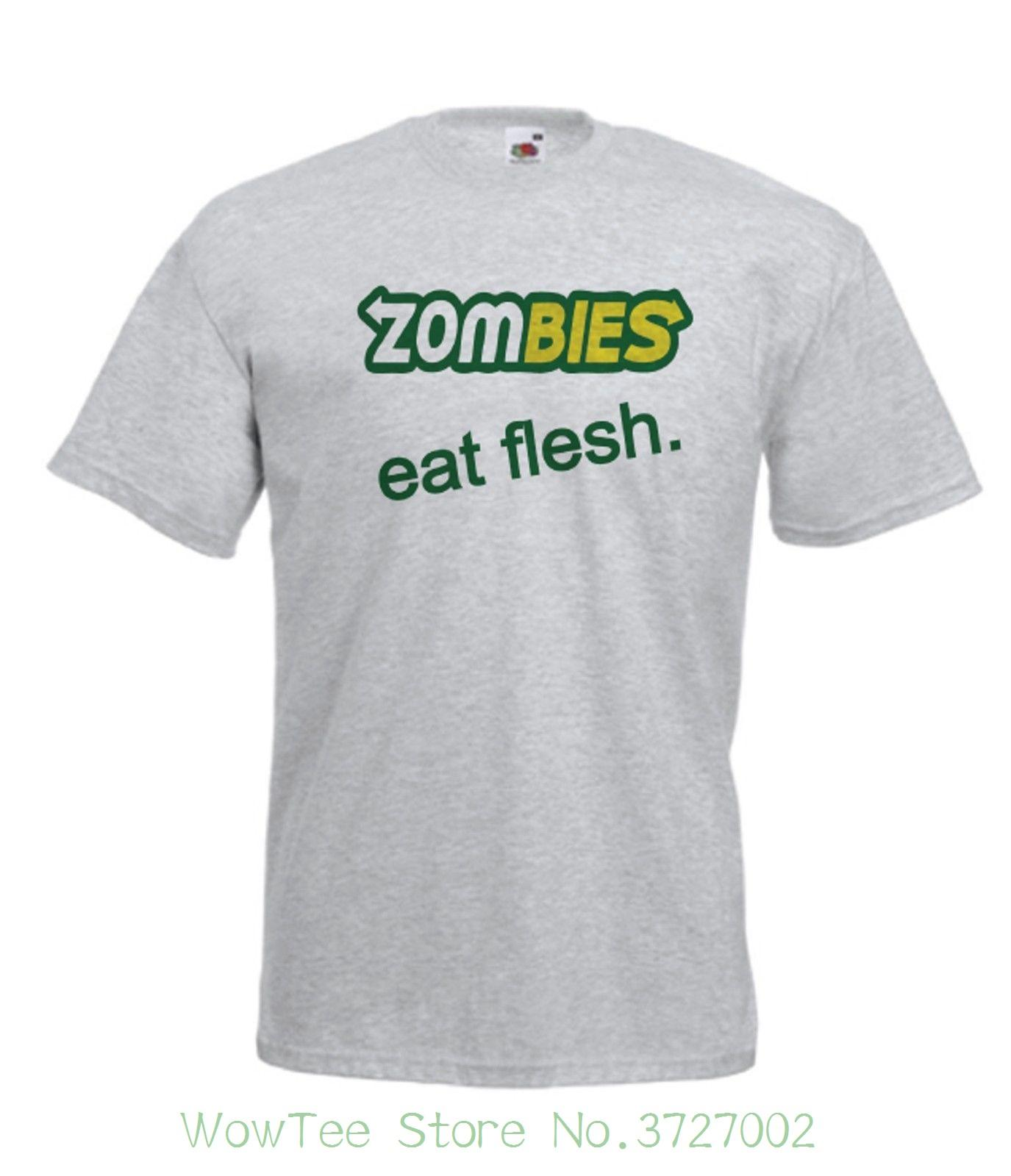 872ad7b800f Zombies Eat Funny Zombie New Men Women T Shirts Top Size 8 10 12 14 ...