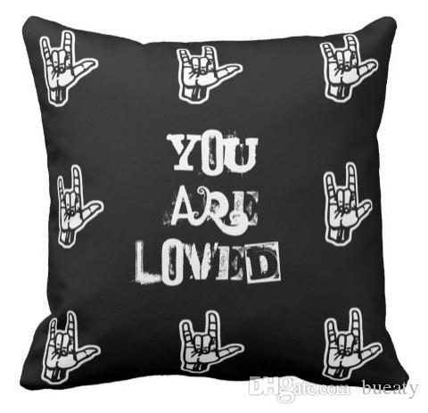 You Are Loved Sign Language Pillow Can be customized to map satin pillow  home decoration