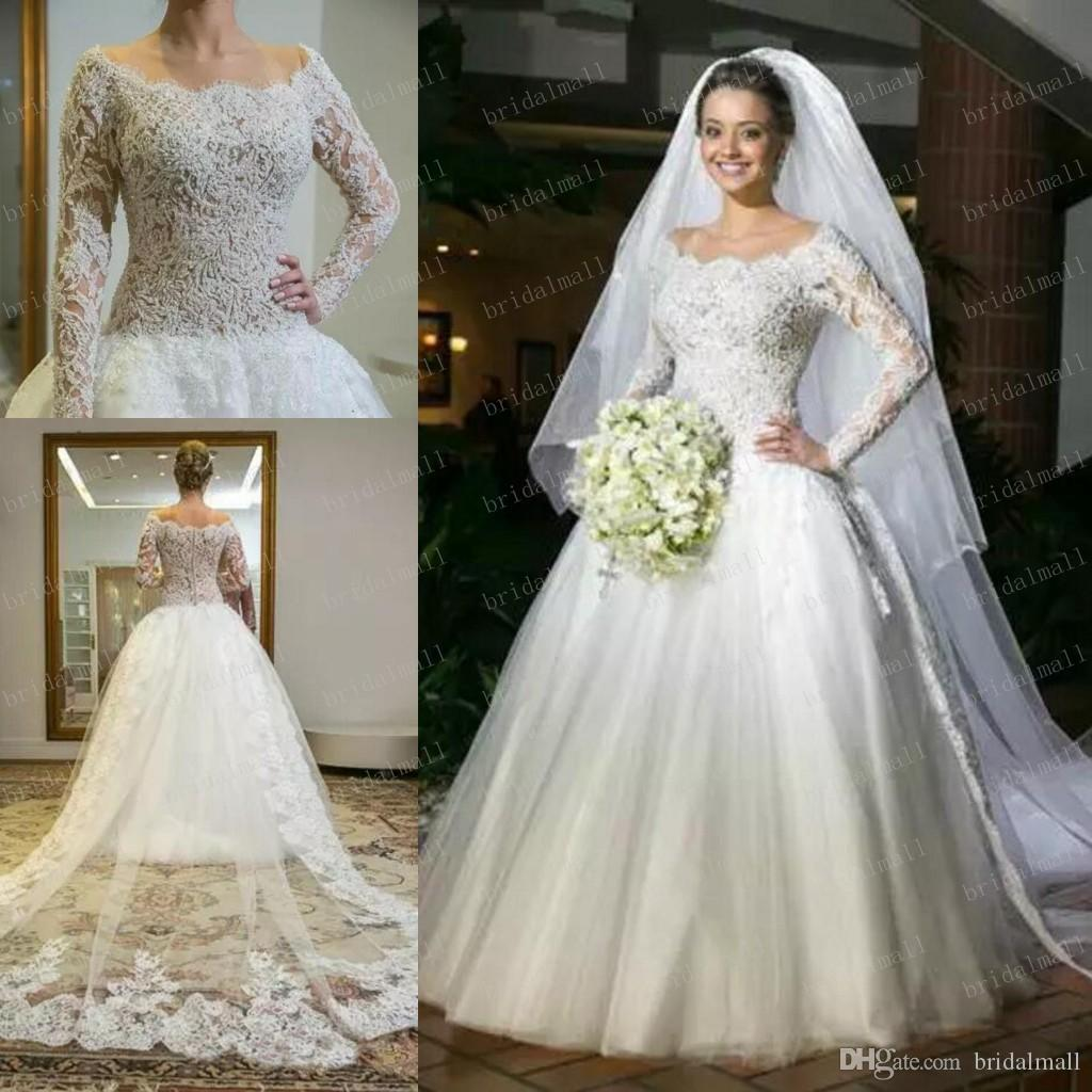 Discount Gorgeous 2019 Beading Pearls Lace Wedding Dresses With Sheer Long Sleeve Scoop Neck Arabic African Bridal Gowns Plus Size Vestido De Novia Monique: Gorgeous African Wedding Dresses At Websimilar.org