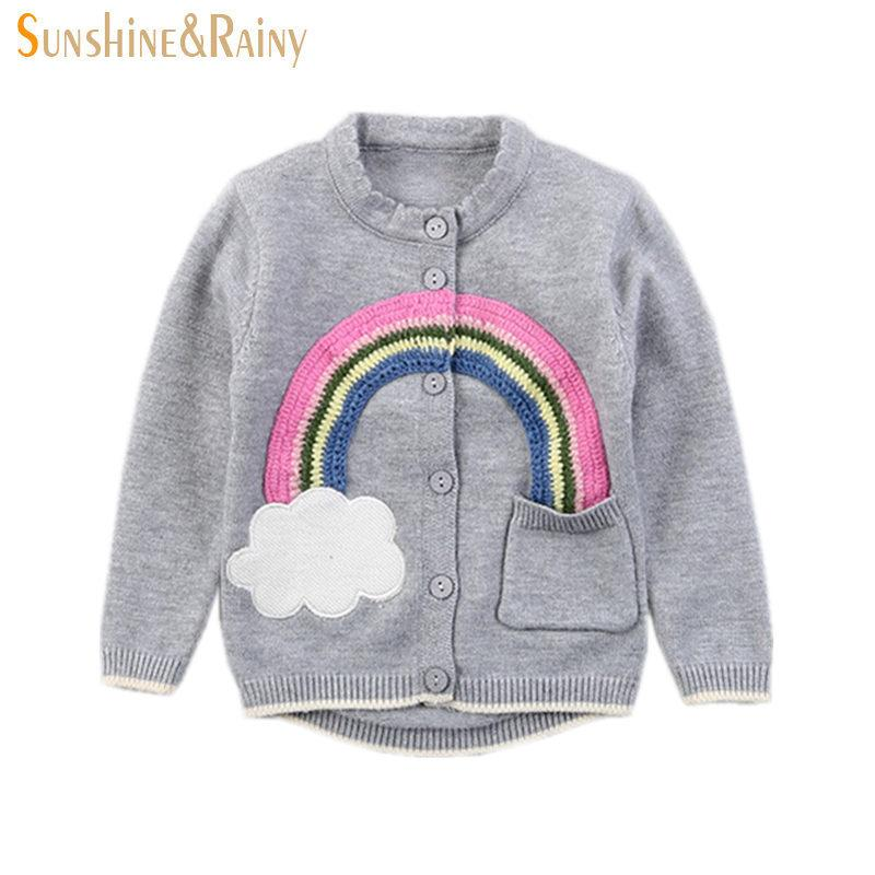 Ins Stylish Knitted Sweaters Toddler Girls Rainbow Embroidery
