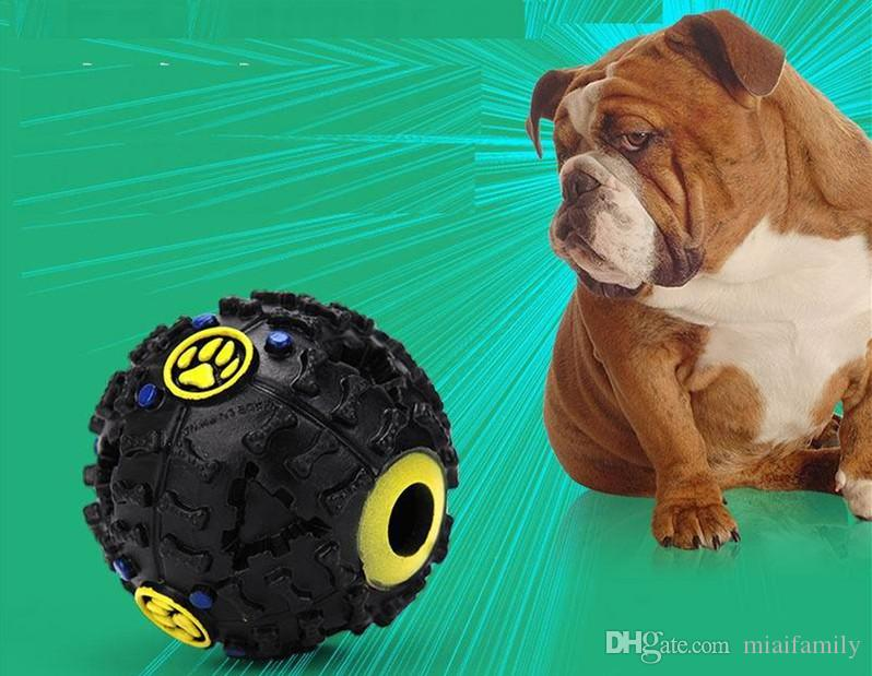 Giochi cani Pet Puppy Sound ball leakage Palla cibo giocattolo sonoro palla Pet Dog Cat Squeaky Mastica cucciolo Squeaker Sound Pet Supplies Play
