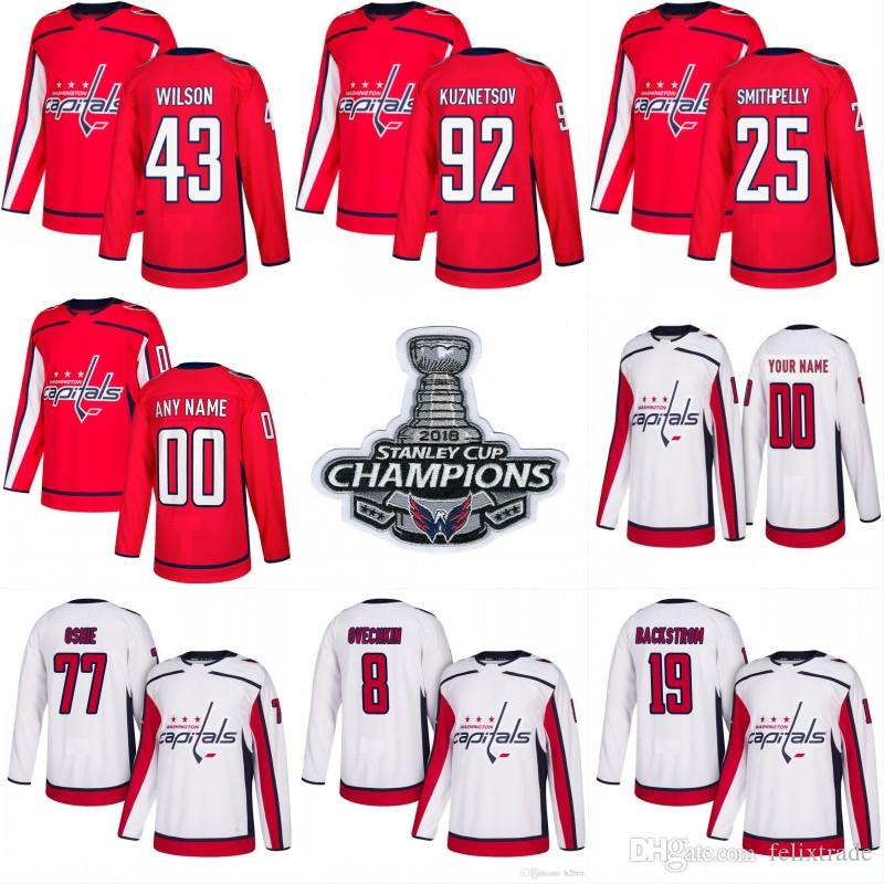 2019 Men 43 Tom Wilson Washington Capitals 2018 Stanley Cup Champions Patch  25 Devante Smith Pelly 22 Madison Bowey 74 John Carlson Hockey Jersey From  ... 6cbb3d94c83