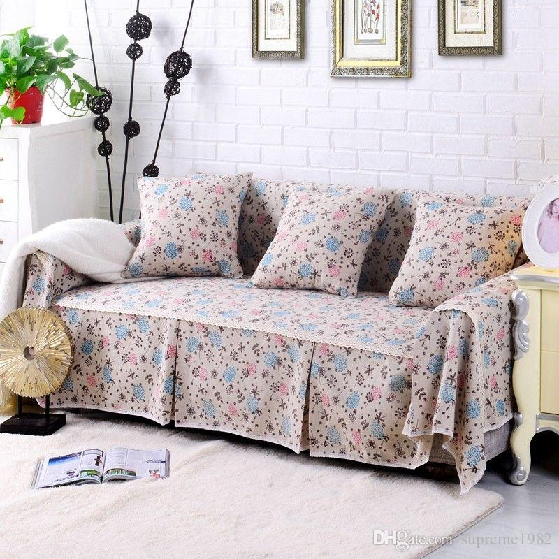 Floral Cotton Linen Slipcover Sofa Cover OAUl Protector For 1 2 3 4 ...