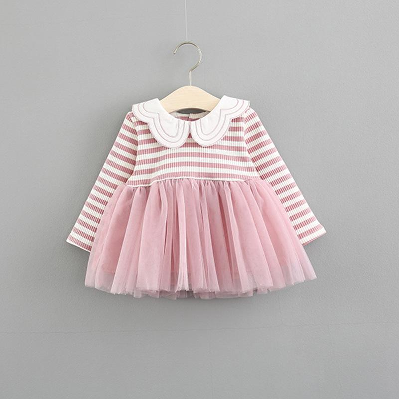 25cd1130181f Baby Girl Dress Butterfly Win Turn Down Collar For Autumn Striped ...