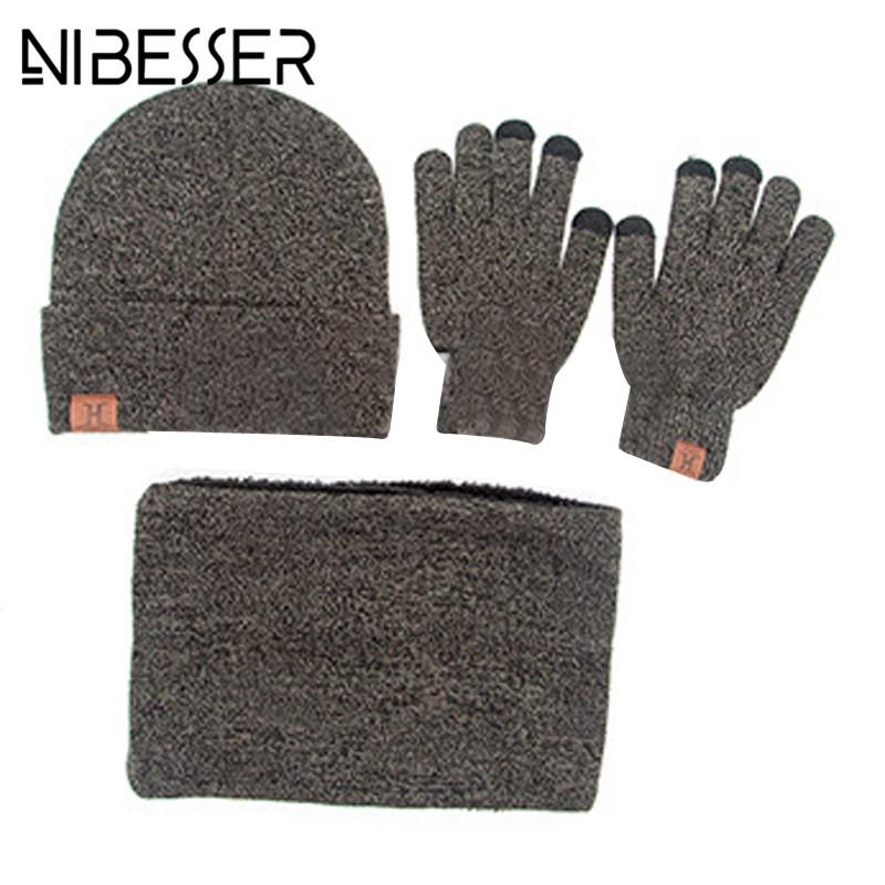 779dc7e2fc769 2019 NIBESSER Winter Set Knitted Hat Glove Scarf For Men Fashion Warm  Casual Unisex Female Scarves Sets Cap Set Outdoor Z30 From Huazu