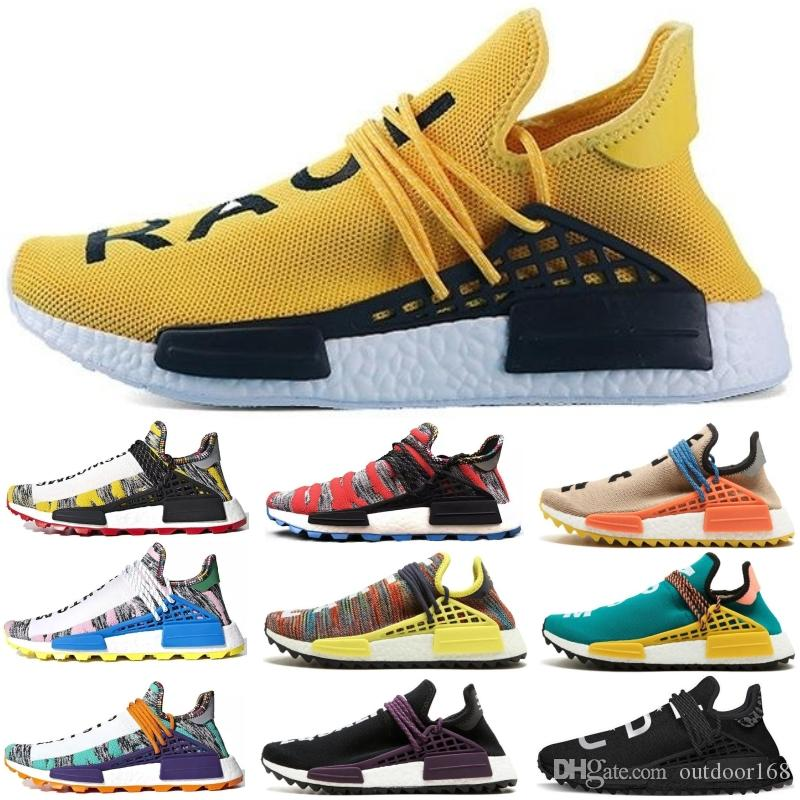 2018 Human Race Pharrell Williams Hu trail NERD Afro Men Womens Running Shoes XR1 White Canvas Black Nerd Sports Shoes With Box
