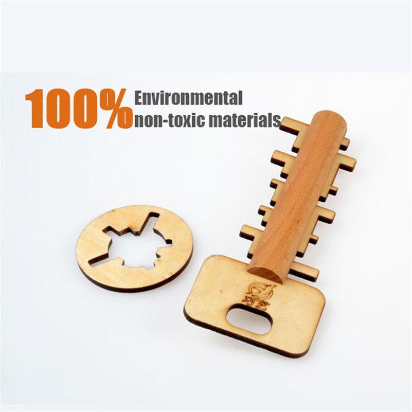 Chiave di legno Unlock Puzzle Key Classico divertente Kong Ming Lock Giocattoli educativi intellettuale bambini giocattoli di intelligenza adulti