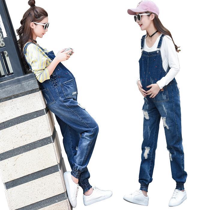 bdbd5637a2b6d 2019 Spring Autumn Jeans Belt Pants Capris Trousers Denim Jumpsuit Plus  Size Maternity Clothes For Pregnant Women Holes Pants C046 From Bradle, ...