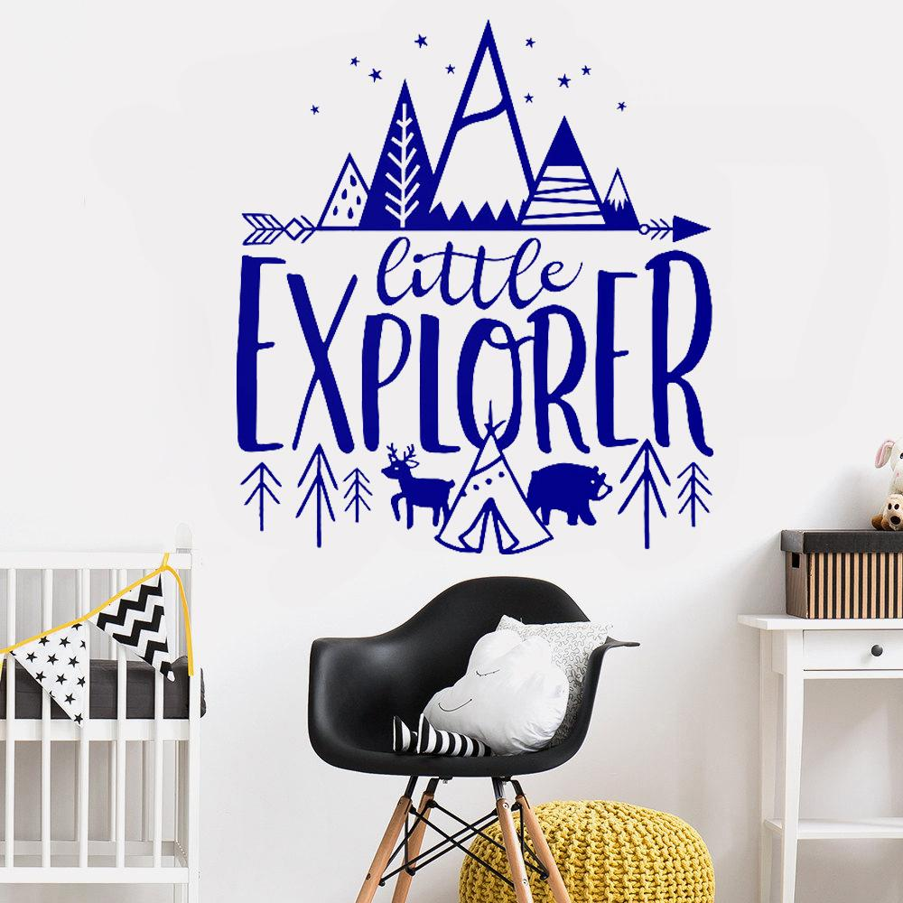 84x94cm Little Explorer Wall Decals Quotes Kids Room Cute Adventure  Stickers Nursery Decor Art Woodland Mural Bedroom L270 Bedroom Wall  Stickers Bedroom ...