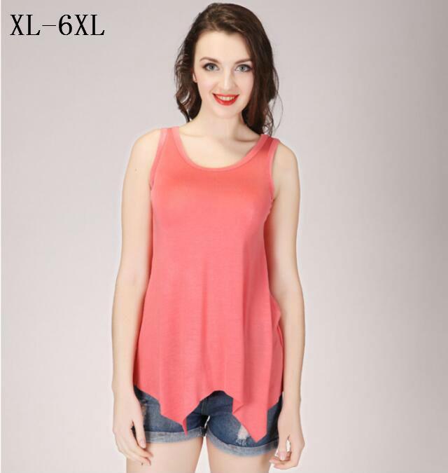 058cc79662870 2019 2017 Summer Plus Size XL 5XL 6XL Women Sleeveless T Shirt Loose  Asymmetrical Hem Modal Tank Tops   Tees Girls Ladies Vest From Salom