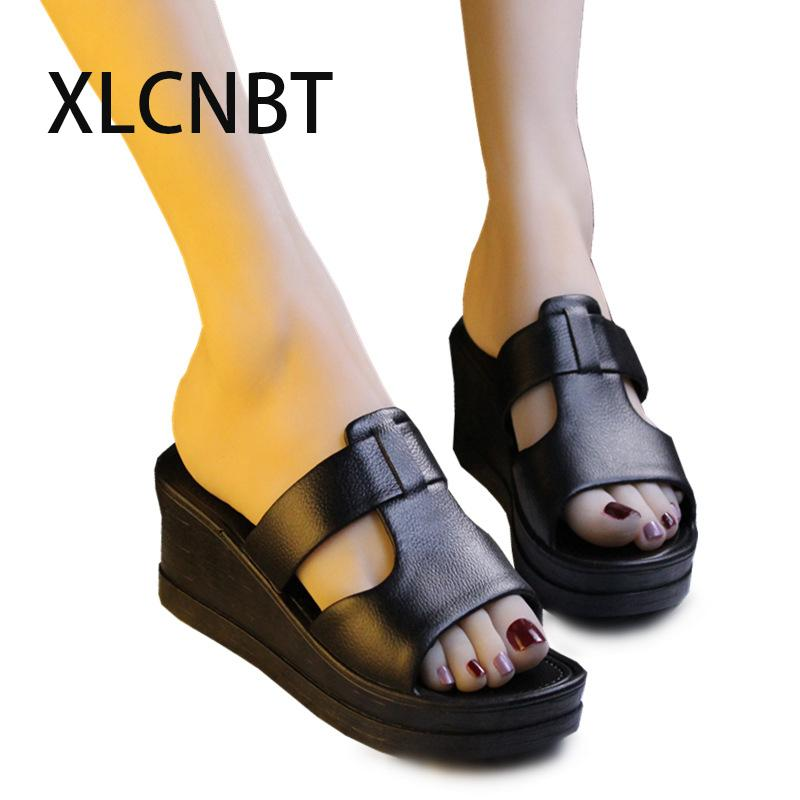 f46b54d04334e3 Summer Wedge Slippers Platform High Heels Women Slipper Ladies Outside Shoes  Black Red Wedge Slipper Flip Flop Sandals Fashion Combat Boots Moccasins  From ...