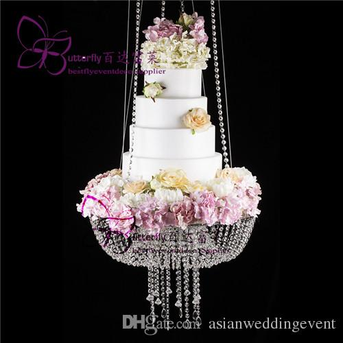 """DIA 18"""" Clear Wedding Cake Stand Chandelier Style suspended cake swing Crystal hanging cake stand"""
