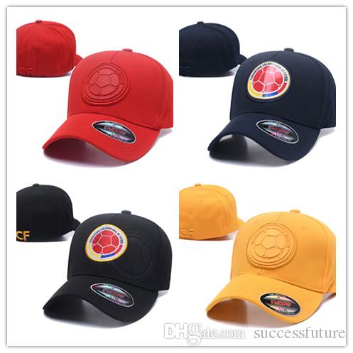 2019 Wholesale Red Color Colombia Soccer Hat 6 Panel Sport Baseball Cap  Full Cotton Football Country Team Strapback Hat 2018 World Cup Soccer Cap  From ... d3c544b70f5