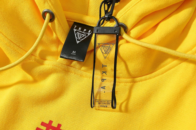TKPA Ano Novo Chinês GONGXIFACAI Impresso Hoodies Amarelo Doce Cor de Lã Casuais Pullovers Soltos Com Capuz Sports Suéteres