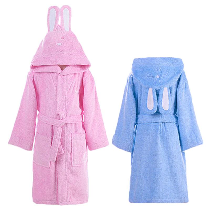 e454ef6cde Hooded Towel Child Bathrobe Kids Boys Girls Robe Cotton Lovely Bath Robes  Dressing Gown Roupao Kids Sleepwear With Belts Retail Y18102908 Pajama Boys  Pajama ...