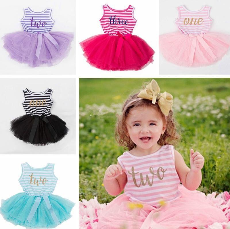 Bébé fille anniversaire robe filles princesse sans manches robe Costume rayé du nouveau-né belle mini-robe cadeau de fête