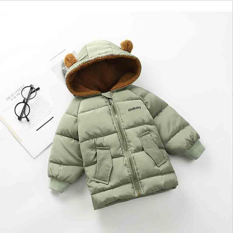48d4b7d3df47 BibiCola Baby Boy Girls Winter Jacket Children Solid Solor Hooded ...