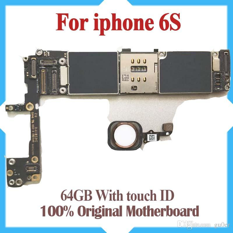 Test Good Motherboard For iPhone 6S 64GB 4 7inch Factory Unlocked Mainboard  With Touch ID Original IOS Update Support free Shipping