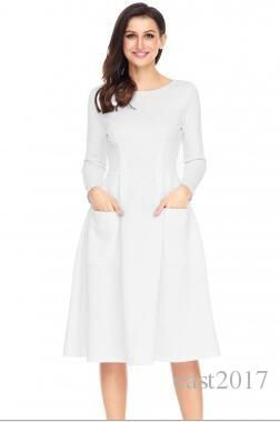 d8a9d7f021 Winter Autumn Women Casual Long Dresses Skater Dress Female Long Sleeve  White Sexy Midi Dress Office Pleated Dress SET White Evening Dress Plus  Size Evening ...
