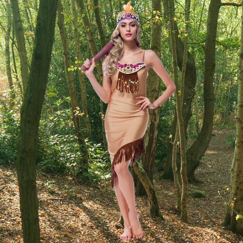 8483f3a9c66 2017 New Sexy Women s Native Indians Princess of Tribe Role-playing Costume  Set Cosplay For Halloween Party Size M XL