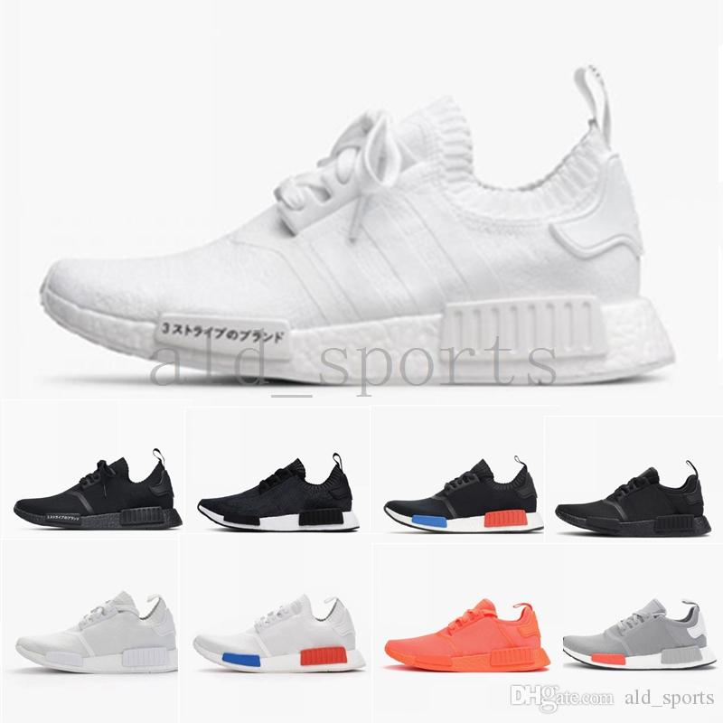 dd4c6932fdc46 2018 Wholesale R1 Shoes Discount Cheap Japan Red Gray NMD Runner R1  Primeknit PK Low Men S   Women S Shoes Classic Fashion Sport Shoes Girls  Running Shoes ...